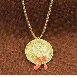 Retro Pink Bow Hat Necklace